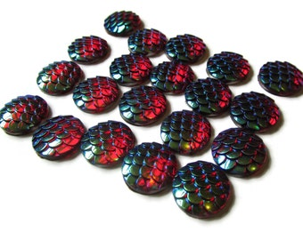 20 12mm Red Scale Cabochons Mermaid Scale Cab Dragon Scale Cabochons Fish Scale Cabochons Jewelry Supplies Plastic Acrylic Cabochons