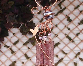 Heart Glass Wind Chimes Windchime Copper Garden Ornament Art Sculpture Stained Glass Metal