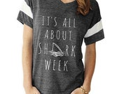 It's All About Shark Week boho slouchy Powder Puff t shirt tshirt screenprint ladies scoop top