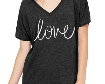 LOVE Oversized Slouchy V Neck Tee Loose tshirt shirt