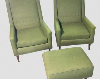 Mid Century Modern Moss Green Tufted Club Chairs