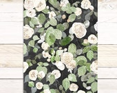 Cascading Roses - Botanical Watercolor wall hanging, wood trim art printed on textured cotton canvas, ready to hang. More Options VPR02
