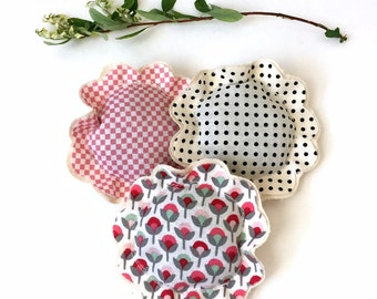 lavender sachets, lavender sachet trio set, little pillow sachets, flower sachets, French lavender sachets, fabric scrap sachets- Set B
