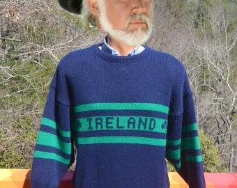 vintage 80s sweater IRELAND shamrock crewneck stripe irish preppy Medium navy green