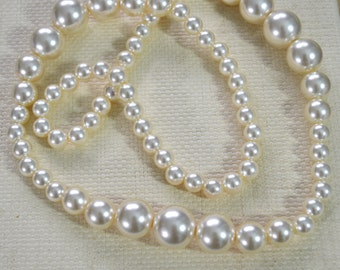 """Long Large Pearls Necklace - Vintage 1980s Pearl Beads in Graduating Sizes Large to Extra Large, Pearly Lustre 36"""" / 91.5cm"""