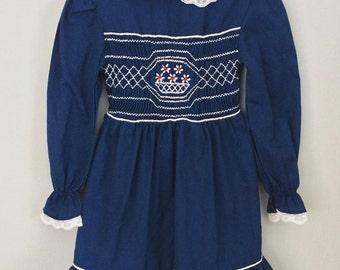 Vintage Navy Blue Smocked Girls Dress 3t 4t