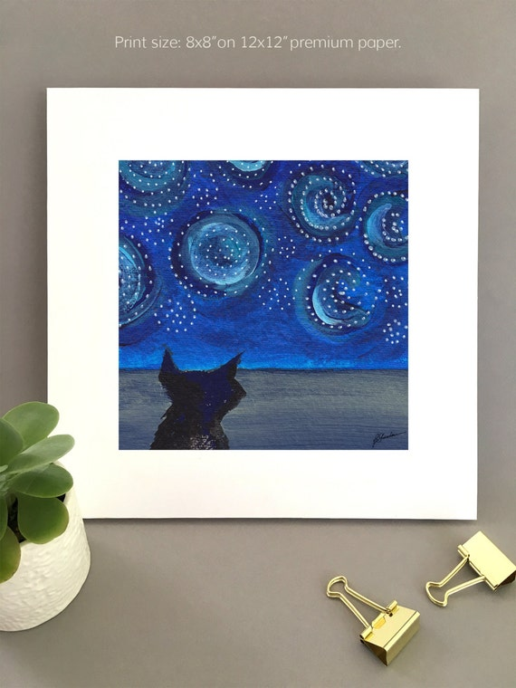Starry Night Sky Cat painting, starry night art print,  whimsical art, blue swirled sky, van gogh night, black cat art,  FREE Shipping