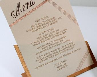 Copper Angles Dinner Menu, Menu Card, Copper and Blush, Wedding Reception, Table Setting, Table Decor, Embossed Menus, Weddings