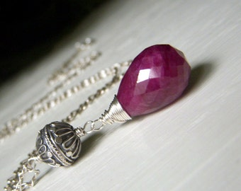 Genuine Ruby Necklace Sterling Silver, Large Ruby Pendant, Red Gemstone Wirewrapped Briolette, Bali Sterling Necklace Boho Pendant