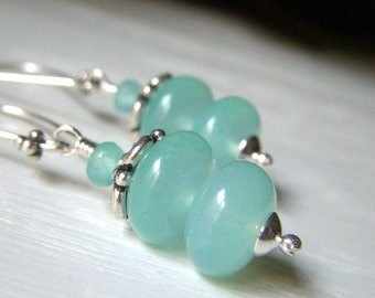 Aqua Chalcedony Earrings, Sterling Silver Gemstone Dangle, Aqua Blue Stacked Rondelle, Sky Blue Natural Stone Jewelry
