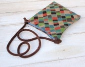 Cross Body Style Colorful Wool Purse in Woodland Browns and Greens