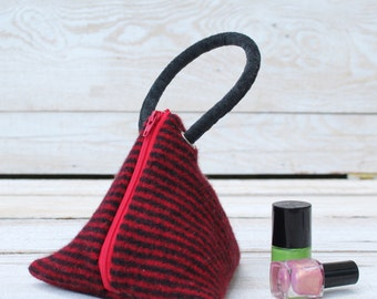 Triangle Pouch in Red and Black Felted Wool Stripes