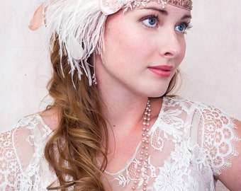 Pink Parfait Ostrich Feather Headband In Ivory And Champagne Pink 1920s Flapper Great Gatsby