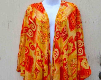 Vintage Eighties Rayon Orange and Yellow Long Rayon Duster by Ramin / Made in Indonesia / All Size
