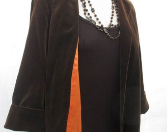Cocoa 40s Vintage Swing Jacket Brown Velvet Short Jacket 40s velvet coat M