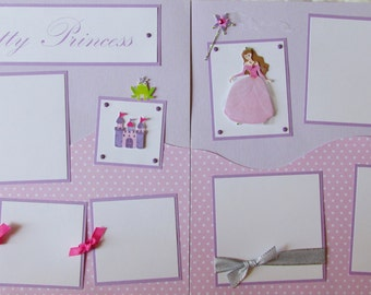 Premade 12x12 Scrapbook Pages - girl layout - PRETTY PRINCESS - girly girl, castle, frog, baby girl, scrapbooking, baby album, toddler, kid