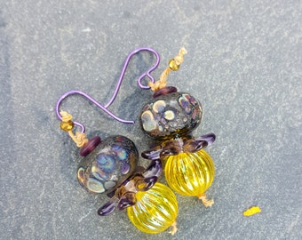 Wildflowers - Purple and Yellow Earrings featuring lampwork, vintage lucite