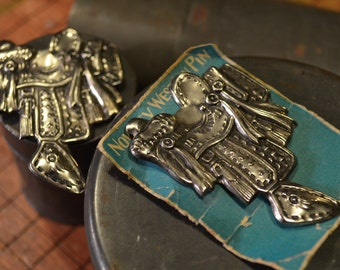Two Novelty Saddle Pins - Made in Japan