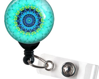 Retractable ID Badge Reel - Blue Green Mandela Circle Design - 246