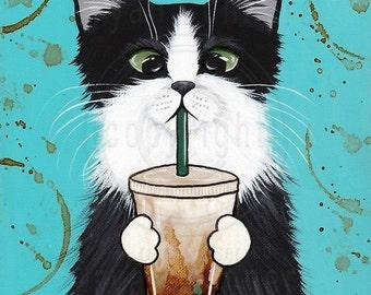 Iced Coffee Cat - Folk Art Print 8x10, 11x14