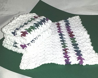 Set of Three Crocheted Dish Cloths Wash Cloths, White with Jewel Tone Stripes