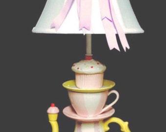 Teapot Lamp - Cupcake Lamp - Tea Party Decor
