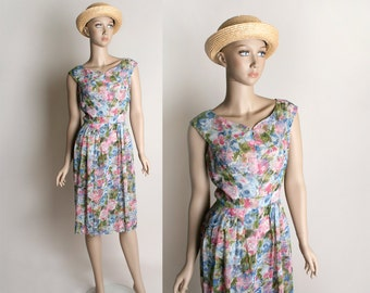 Vintage 1960s Dress - Sheer Floral Pastel Garden Bouquet Wiggle Dress - Small
