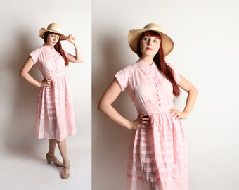 Vintage 1950s Dress - Sheer Pink Cotton Striped Button Up Rhinestone Shirtdress - Medium