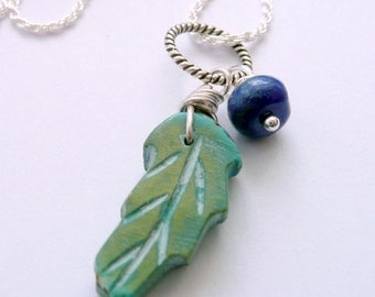 Artisan Carved Chrysocolla Gemstone Leaf Lapis Hand Wire Wrapped Sterling Silver Charm Dangles Talisman Boho Rustic Pagan OOAK Necklace