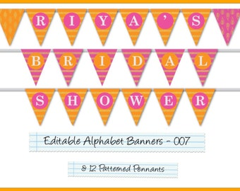 Editable Printable Banner Pennants Alphabet Garland For Parties/Celebrations, Happy Birthday Banner, Wedding Banner, Welcome Home AB-007-EP