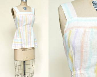 1970s Blouse --- Vintage Pastel Striped Top