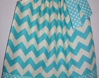 Pillowcase Dress with Chevron Dress Aqua and Cream Riley Blake Girls Dresses Summer Dresses Toddler Dresses Baby Dresses Kids Clothes