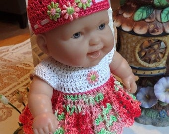 Crochet outfit for 8 inch LTL Lots to Love Berenguer Baby Doll Dress Hat Set Daisy Pink Red Green white