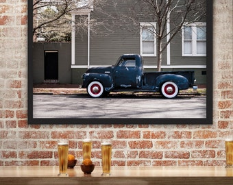 Vintage Truck Photography, Savannah Georgia, Rustic Car Photograph, Classic Chevrolet, Chevy Pickup Truck, Whitewall Tires, Blue Urban decor