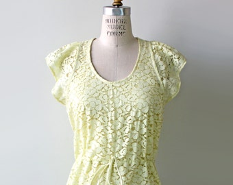 Boho Yellow Lace Bridesmaid Cocktail Dress with flutter sleeves