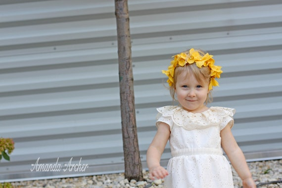Yellow Lace Flower Headband for Girl