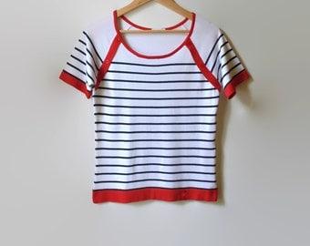 White Black Stripes T Shirt, Womens Vintage Summer Top, Round Neck TShirt, Short Sleeves, 90s Clothing, Size 6 Tee Knitwear Nautical T Shirt