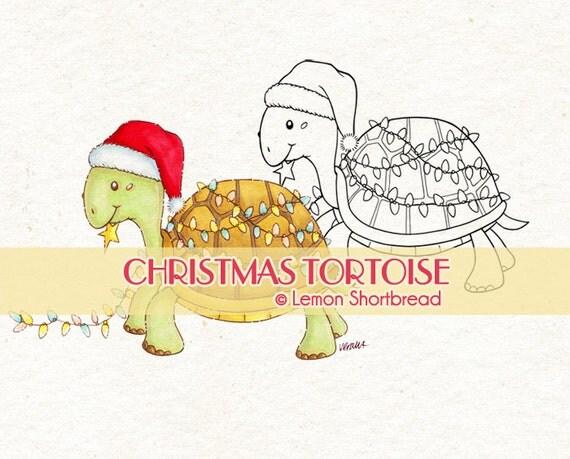 Digital Stamp Christmas Turtle Tortoise, Digi Holiday Lights Decoration, Merry Xmas, Animal Graphic, Clip Art, Scrapbooking Instant download