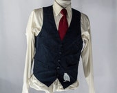 Men's Suit Vest / Large / Vintage Navy Waistcoat / Screen Printed Sparrow / Size 38 #2078