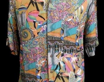 Vintage 1990s 90s Mens Shirt Hawaiian Abstract Print Short Sleeve Button Front Rayon by Burma Bibas Size L
