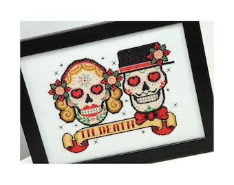 Sugar Skulls Rockabilly Cross Stitch Pattern Instant Download