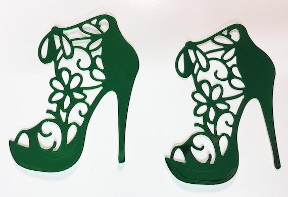 Flower Lace High Heel Green Metallic Foil Die Cut 10 Pieces Elegant Feminine Embellishment Scrapbook Greeting Card Art Craft Mixed Media