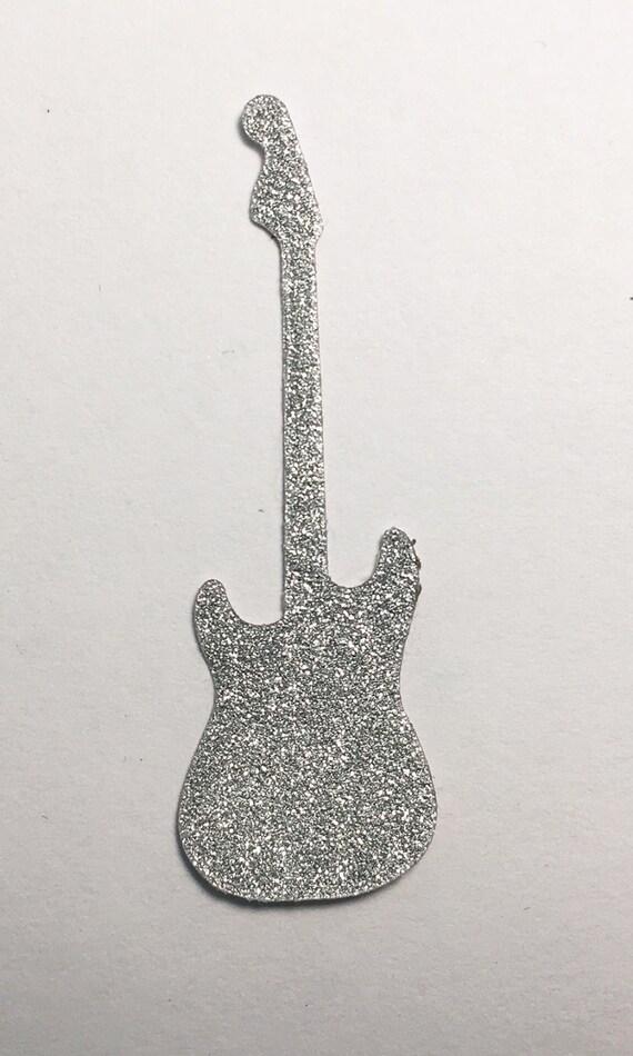 Electric Guitar Die Cut Silver Glitter Sticker - 2 Inch Size Embellishment Scrapbook Greeting Card Mixed Media Paper Art Craft Altered Attic