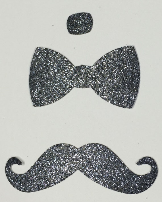 Bow Tie Mustache Silver Black Glitter Die Cut Embellishment - Men Masculine Formal New Years Holiday Wedding Greeting Card Scrapbook Craft