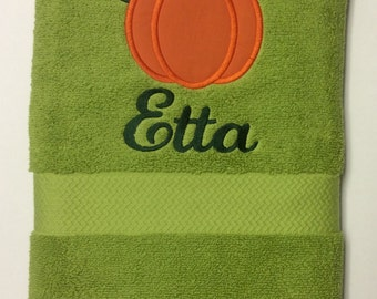 BATH TOWEL Fall Pumpkin Personalized Towel