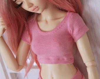 Doll MSD BJD clothes Light Pink crop top t shirt MonstroDesigns PreOrder