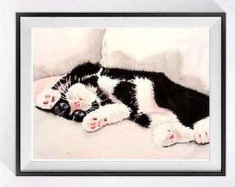 Cat Art  for child's room,  Watercolor print, Children's room decor, Cat painting funny art Art / Playful kitty, Tuxedo kitten