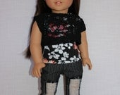 black floral tank top, black lace off the shoulder tee and grey pin stripe ripped denim skinny jeans, 18 inch doll clothes,