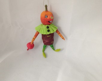 Veggie man whimsical spun cotton ornament vegetable guy by Maria Paula folk art Halloween decoration