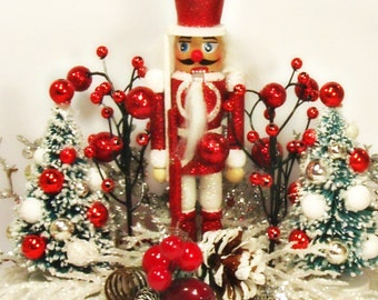 Nutcracker centerpiece red green white and silver holiday decor toni Kelly original vintage retro inspired
